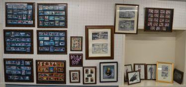 A quantity of framed James Bond 007 items including, framed 'Moonraker' Trading Cards, Sketches,