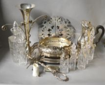 A boxed quantity of silver plate to include Victorian Cruet set, coaster, jug etc
