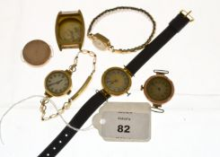 A small quantity of 9ct gold H/M cased wristwatches all non working, together with two 9ct H/M watch