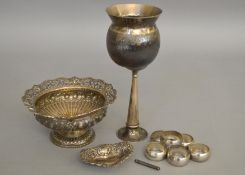 A quantity of silver items to include a silver dish H/M Birmingham 1904, set of six napkin rings,