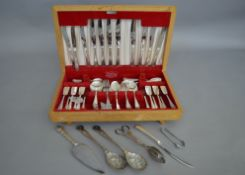 A complete canteen of silver plated cutlery together with a quantity of other silver plated