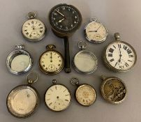 A quantity of silver & nickel cased pocket watches in various states of repair, including an 8 day