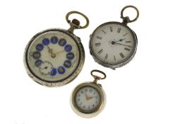 Three silver low grade (800) pocket/fob watches, one with enameled art nouveau design on case