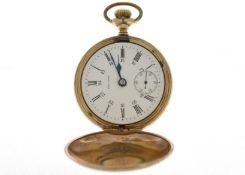 A decorated gold plated top-wind Waltham pocket watch, the white enamel dial is clean except for a