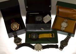 A boxed quantity of seven gents wristwatches to include two quartz Pulsar's, a quartz Puma with box,