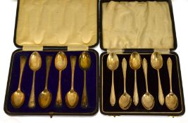 Two cased sets of six silver tea spoons, Sheffield 1906 & Birmingham 1932, total weight approx