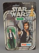 Palitoy Star Wars Han Solo 3¾ inch action figure on a 12 back card. Figure is E with clear bubble,