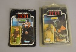 2 Vintage Star Wars 3¾ inch carded figures ; Ree-Yees and Klaatu, Klaatu is by Palitoy on a 65