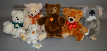 5 unboxed Steiff Bears including Koala together with an unboxed  Merrythought 'Clarissa' bear. (6)