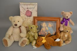 A boxed Russ Berrie limited edition bear 'Farrington' together with four unboxed Seiff bears