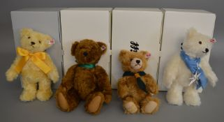 4 boxed Steiff Bears - 'Cub Scout Centenary', 'Eliza', 'MBI 2017' and 'Kasper'. (4)