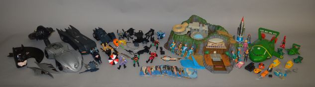 A quantity of unboxed Gerry Anderson 'Thunderbirds' related toys including 'Tracey Island', a
