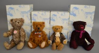 4 boxed Steiff Bears - 034800 'Anushka', 036972 'Ben', 034787 'Sir Edward' and 682612 'Great