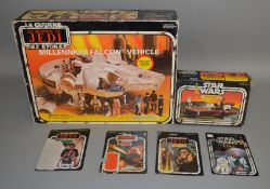 Star Wars Millenium Falcon Vehicle and Land Speeder by Kenner, both boxed.  This lot also includes