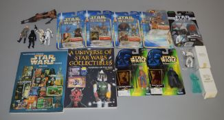 7 Star Wars carded figures along with 2 mail away figures, 2 guide books etc (16)