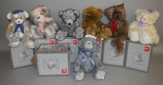 7 boxed 'Suki' Silver Tag Bears including 'Max', 'Samuel' and 'Riley', the latter bear having head