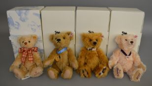 4 boxed Steiff Collectors Bears - Celebration', 'Sebastian', 'Queens 90th Birthday' and  'MBI Year'.