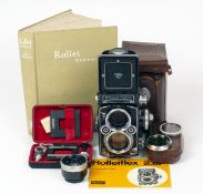Metered Rolleiflex F2.8 TLR Outfit #2422645. (condition 5F). Meter working. With case (needs re-