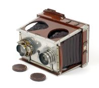 Uncommon Shew 'Twin Lens' Xit. (condition 5F). Looks like a stereo camera, but one lens enables