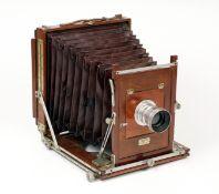Watson Acme Whole Plate Field Camera. (condition 4F) Unusual aluminium furniture, an option when