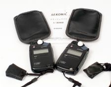 Two Sekonic Digital Flash & Ambient L-308s Exposure Meters. (condition 4/5E) with accessory domes
