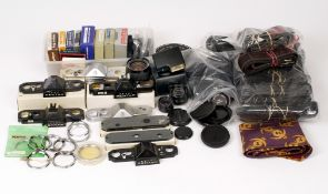 Box of Pentax Spare Parts & Accessories, Some New. To include 20-40mm zoom lens for 110 system,