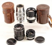 A Group of Pentax M42 Screw Mount Lenses. Comprising a rare, chrome Asahi Kogaku Tele-Takumar