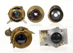 Group of Five Brass Bound Lenses. To include Pantar, Gorez and Berthiot examples. (conditions mostly