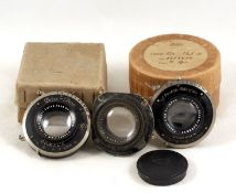 Group of Three CJZ Tessar Lenses, One in original Zeiss box. (condition 4F & 6F). (Cabinet L)