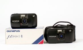 Two Olympus Mju I Compact Cameras, One boxed. (condition 5/6F) (Cabinet F)
