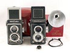 Two French SEM Semflex Twin Lens Reflex Cameras. One with rare boxed bulb flash unit and very rare