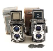 Two Yashica 4x4 TLR Cameras for 127 Film. Yashica 44 (condition 5F) with Yashikor 60mm f3.5 lens and