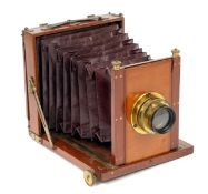 Morley Half Plate Field Camera. (condition 5F) with Perken, Son & Rayment Rapid Euryscope lens.
