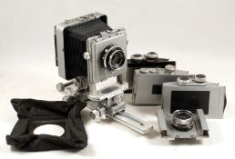Plaubel Peco Junior Monorail Outfit. To include Xenar f4.4 105mm lens, Super-Angulon f8 47mm lens #