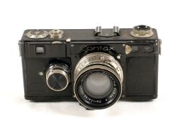 Zeiss Ikon Contax I with Sonnar 5cm f2 Lens. (black paint good, body condition 5F, lens shows slight
