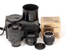 Nikon Fit Tamron 500mm Mirror Lens & Accessories. To include Nikon TC-201 Teleconverter and a Tamron