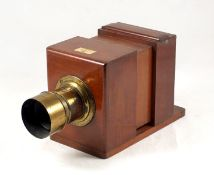 Horne & Thornthwaite Quarter Plate Sliding Wet Plate Camera. (pinion adjuster missing from unnamed