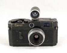 Rare BLACK Canon VI L Rangefinder Camera. (well used, but working, condition 6F). With Canon 28mm