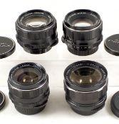 Four Pentax M42 Screw Mount Lenses. Comprising Super Takumar 50mm f1.4 #3824778; SMC Takumar 55mm