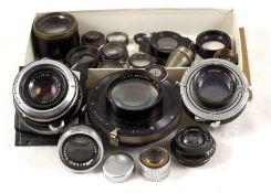 Box of Vintage Lenses & Parts, inc Taylor Hobson, Dallmeyer etc, To include Dallmeyer Anastigmat 2