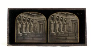 Uncommon Stereo Collodion Image on Glass, Statues of Osiris, Egyptian Court, Crystal Palace. Circa