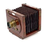 An Early Lancaster Instantograph Half Plate Camera. (condition 5F) with Rectigraph lens. Uncommon