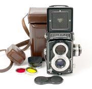 Metered Rolleiflex T TLR Camera #2317235. With Schneider Xenar 75mm f3.5 lens. (condition 4F). Meter