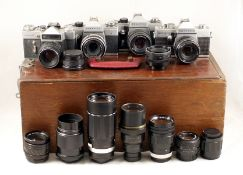 Zenit & Praktica Cameras, Lenses & a Dallmeyer 4 1/2 inch Profile Projection Lens. To include