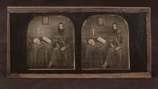 RARE 'Memento Mori' Style Stereo Daguerreotype. Photographer unknown. Image shows a monk seated