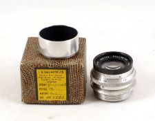 Dallmeyer Super-Six 1 3/4 inch Lens #369723. With lens hood and in original maker's box. (