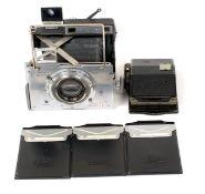 Plaubel Makina II 9x9cm CRF Camera. (condition 5F) with Anticomar f2.9 10cm lens. Includes 3