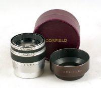 Uncommon Corfield Lumax 45mm f1.9 L39 Screw Mount Lens. #822133. (condition 4F). With original