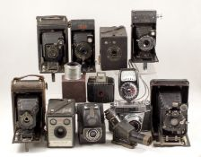 Selection of Folding and Other Vintage Cameras. To include Kodak, Ensign etc. (conditions vary