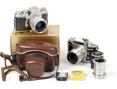 A Boxed Wirgin Edixa Standard with Quinon f1.9 55mm Lens. (condition 5F). Also an Ihagee Exakta